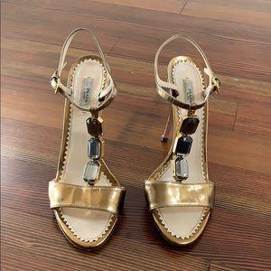 Prada gold jeweled heels 39